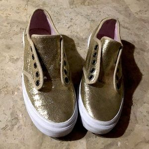 "Vans ""Off the Wall"" champagne glitter sneakers"